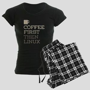 Coffee Then Linux Women's Dark Pajamas