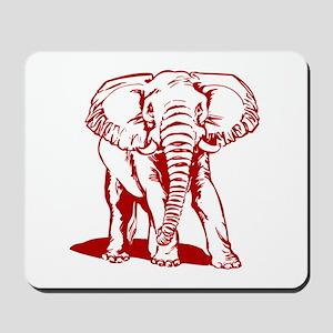 Cute Dark Red Elephant Line Drawing Mousepad