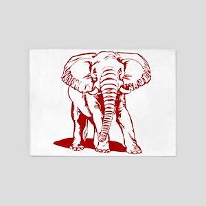 Cute Dark Red Elephant Line Drawing 5'x7'Area Rug