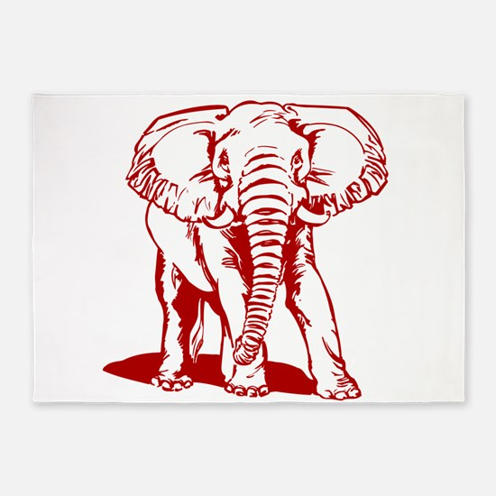 Cute Dark Red Elephant Line Drawing 5'x7'Area Rug