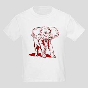 Cute Dark Red Elephant Line Drawing T-Shirt
