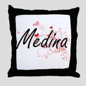 Medina Artistic Design with Hearts Throw Pillow