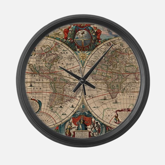 Vintage Map of The World (1641) Large Wall Clock