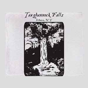 Taughannock falls bw Throw Blanket