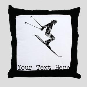 Vintage Ski Jumper (Custom) Throw Pillow