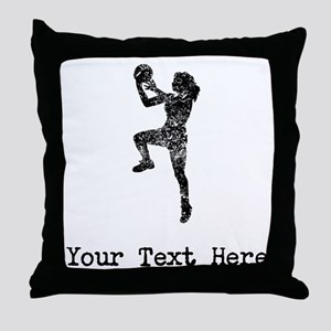 Vintage Womens Basketball Player (Custom) Throw Pi