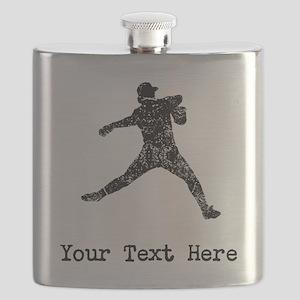 Vintage Baseball Pitcher (Custom) Flask