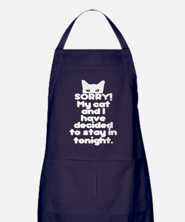 My Cat And I Are Staying Home Excuse Apron (dark)
