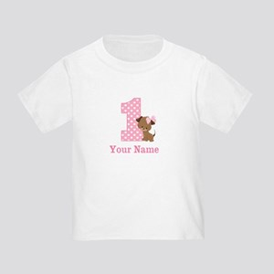 1st Birthday Girl Puppy Personalized T-Shirt