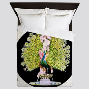 B'fly Lady Peacock Beauty Rivals Queen Duvet