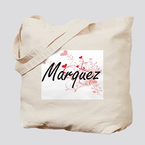 Marquez Artistic Design with Hearts Tote Bag