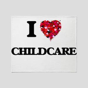 I love Childcare Throw Blanket