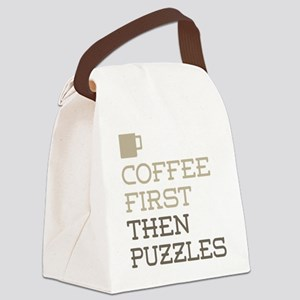 Coffee Then Puzzles Canvas Lunch Bag