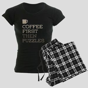Coffee Then Puzzles Women's Dark Pajamas