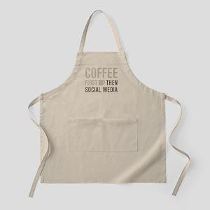 Coffee Then Social Media Apron