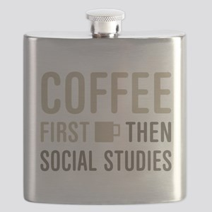 Coffee Then Social Studies Flask