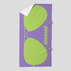 Green Violet Funky Sunglasses Personal Beach Towel