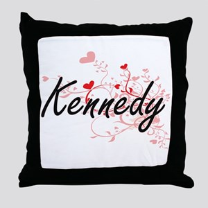 Kennedy Artistic Design with Hearts Throw Pillow