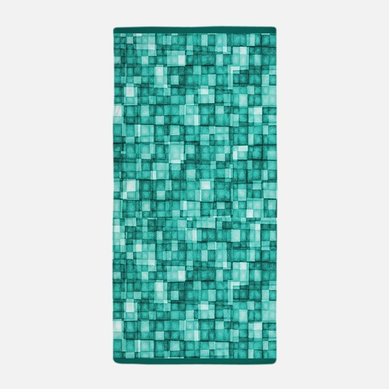 Watercolor Mosaic Tiles TURQUOISE Beach Towel