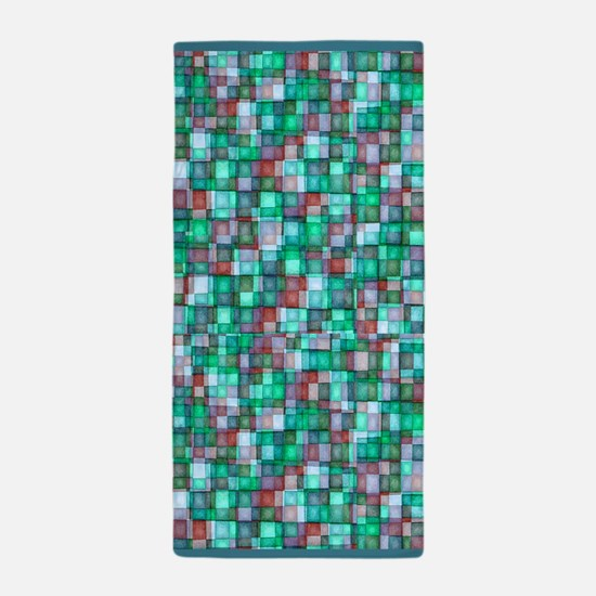 Watercolor Mosaic Tiles TURQUOISE PLUM and BLUE Be