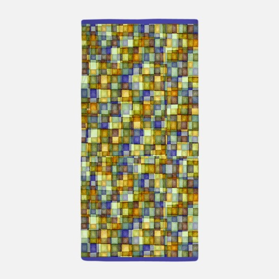 Watercolor Mosaic Tiles GOLD and BLUE Beach Towel
