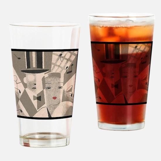 Vintage Art Deco Couple Drinking Glass