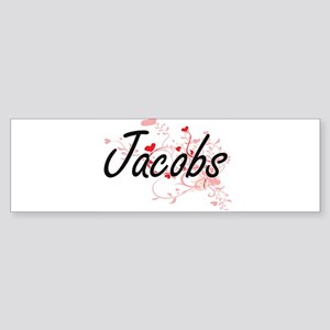 Jacobs Artistic Design with Hearts Bumper Sticker