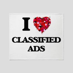 I love Classified Ads Throw Blanket