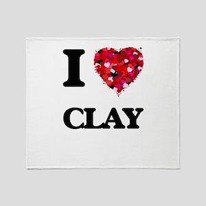 I love Clay Throw Blanket