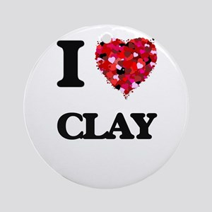I love Clay Ornament (Round)