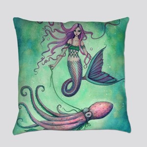 Mermaid with Octopus Everyday Pillow