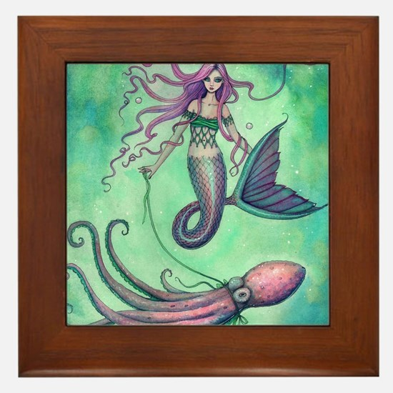 Mermaid with Octopus Framed Tile