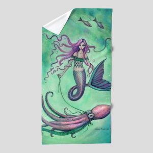 Mermaid with Octopus Beach Towel