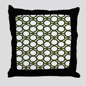Mossy Green Bubble Eyelets Throw Pillow