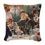 Cat in Renoir's painting Woven Throw Pillow
