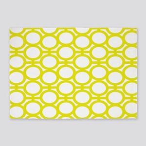 Lemon Yellow Eyelets 5'x7'Area Rug