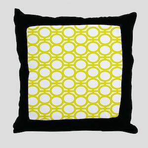 Lemon Yellow Eyelets Throw Pillow