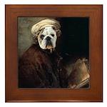 Rembrandt bulldog autoportrait Framed Tile