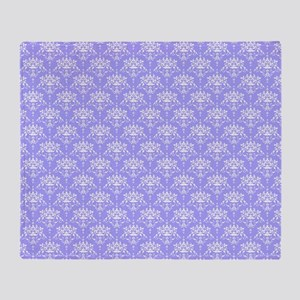 Periwinkle and White Damask Pattern Throw Blanket