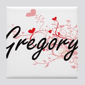 Gregory Artistic Design with Hearts Tile Coaster