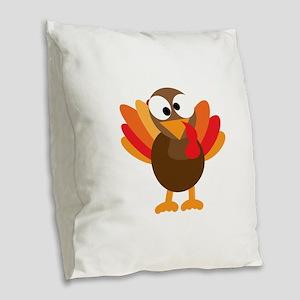 Funny Turkey Burlap Throw Pillow