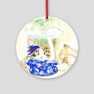 Beta Fish and Cat Round Ornament