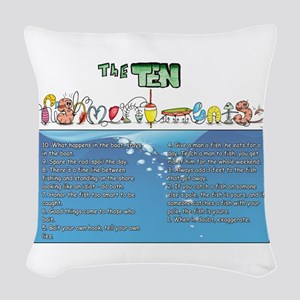 The Ten Fishmandments Woven Throw Pillow