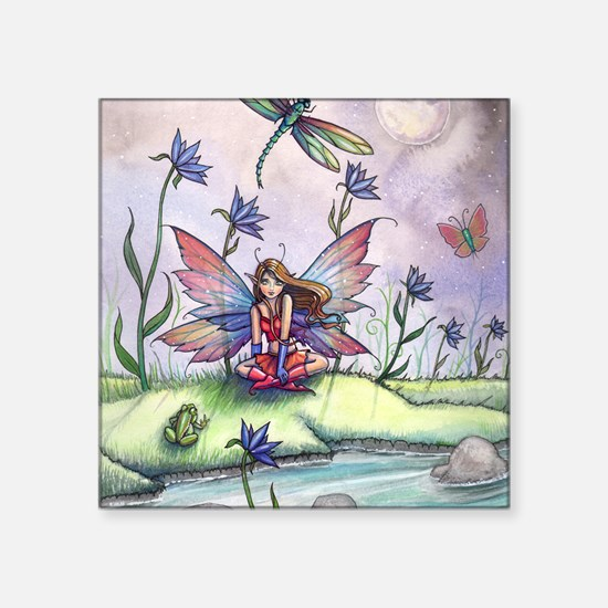 Magic at Dusk Fairy Dragonfly and Frog Ill Sticker
