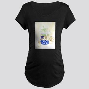 Beta Fish and Cat Maternity T-Shirt