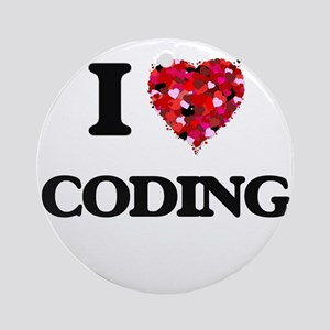 I love Coding Ornament (Round)