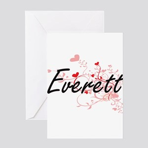 Everett Artistic Design with Hearts Greeting Cards