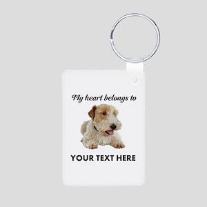 Custom Wire Fox Terrier Aluminum Photo Keychain