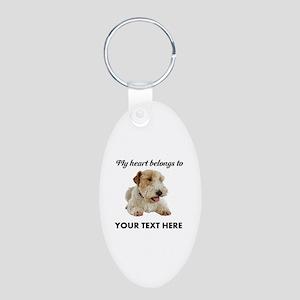 Custom Wire Fox Terrier Aluminum Oval Keychain
