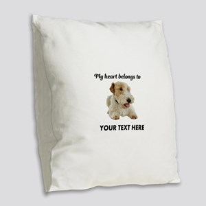 Custom Wire Fox Terrier Burlap Throw Pillow